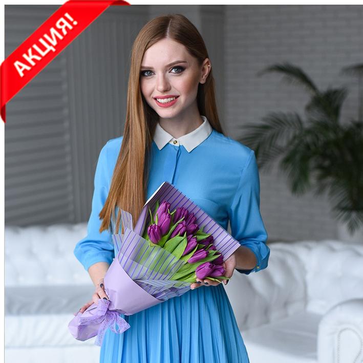 Купить букет 15 фиолетовых тюльпанов в Перми