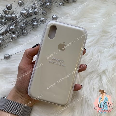 Чехол iPhone X/XS Silicone Case /antique white/ молочный 1:1