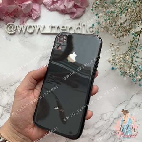Чехол iPhone XR Glass Silicone Case Logo /black/