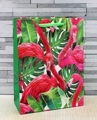 Пакет подарочный Чудесные фламинго, 18*23*10см.