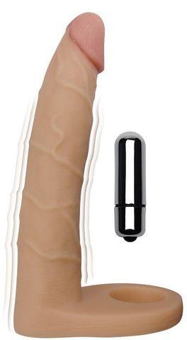 Телесная насадка-вибратор для двойного проникновения - 17 см.