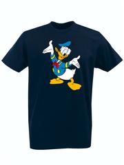 Футболка с принтом мультфильма Дональд Дак (Donald  Duck) темно-синяя 0011