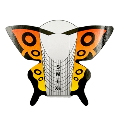 Формы для наращивания ногтей (бабочка цветная), 300шт. в рулоне