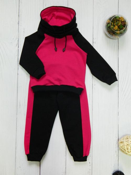 Костюм 3013, черно-розовый