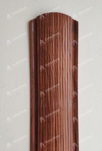 Евроштакетник металлический 110 мм Темное дерево 3D фигурный 0.5 мм