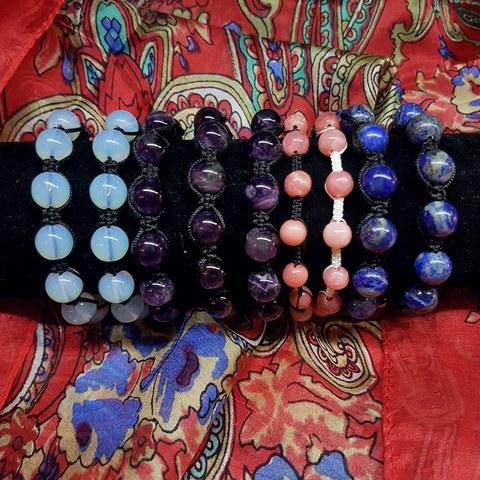 Браслет Шамбала натуральные камни в ассортименте, Индия