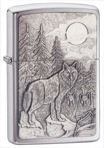 Зажигалка Zippo Timberwolves Emblem № 20855, серебристая, 36х12х56 мм