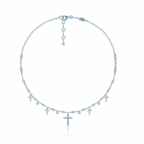 20696 -Колье из серебра с подвесками Крестики- 5 Crosses  с кубическими цирконами бриллиантовой огранки