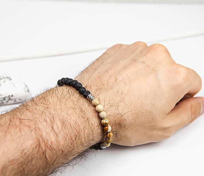 BS834 Мужской браслет из натуральной яшмы и лавы фото 07