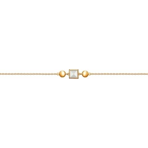 93050109- Браслет из золоченого серебра c белым ситалом кахолонгом