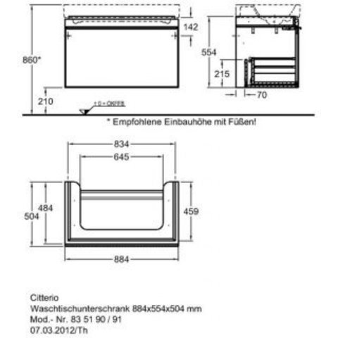 Комплект мебели Keramag Citterio 90 см (тумба с раковиной + зеркало )
