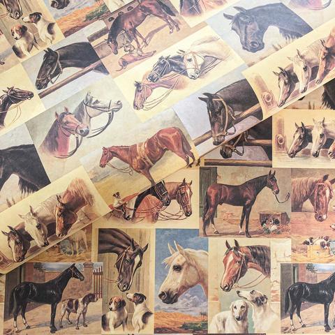 Бумага подарочная декоративная Лошади