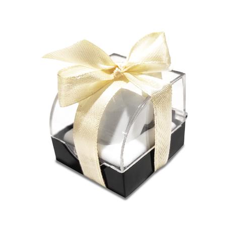 Прозрачный футляр для кольца, с бежевой лентой