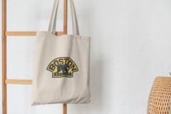 Сумка-шоппер с принтом Бостон Брюинз (NXL Boston Bruins) бежевая 009