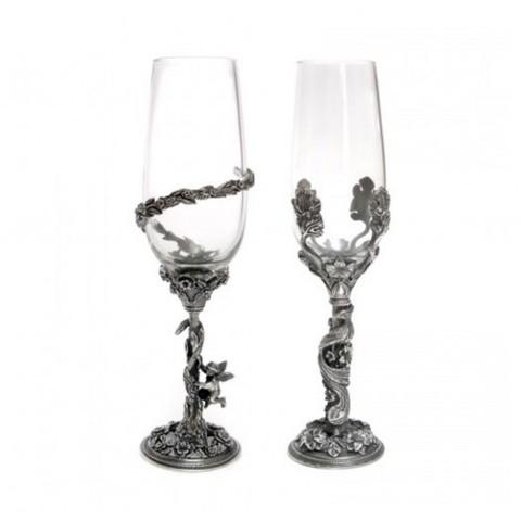 Набор бокалов «Он и Она», посеребрение