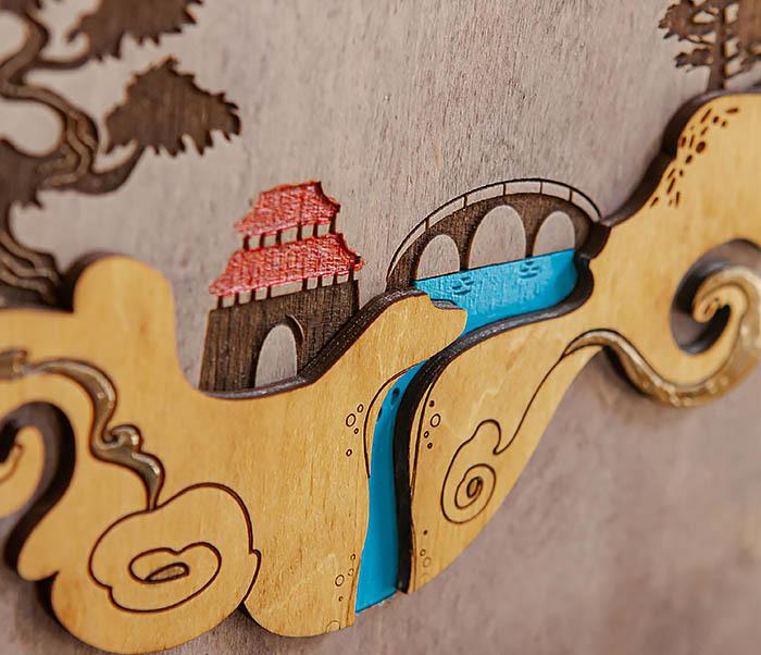 BOX233-3 Большая коробка «Синано» с художественной росписью (25*25*12 см) фото 03