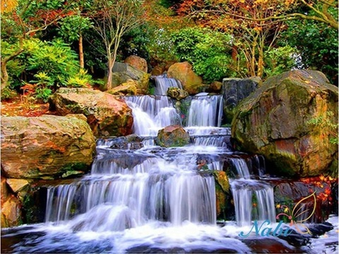 Алмазная Мозаика + Багет 40x50 Водопад вблизи