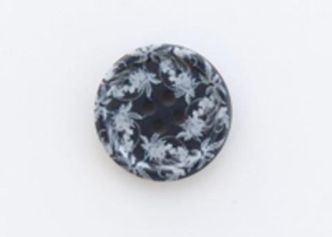 Пуговица пластиковая, круглая, тёмно-синяя с серыми узорами, 4 отверстия, 17 мм