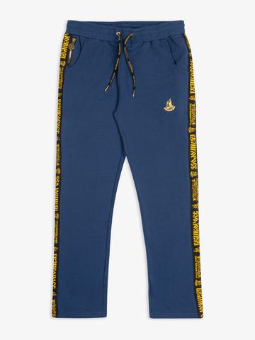 Спортивные штаны цвета синего денима с лампасами, без манжета. Плотный футер