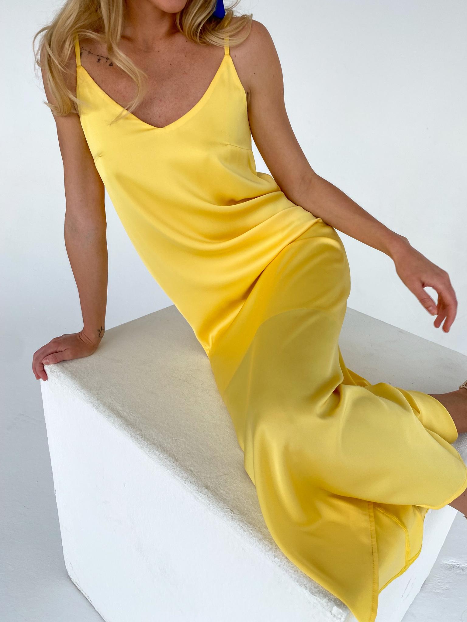 Платье-комбинация из смесового шелка (лимонный)