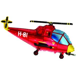 Фольгированный шар Вертолет красный 57см X 96см