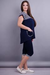 Іванка. Практичний жіночий костюм великих розмірів. Синій.