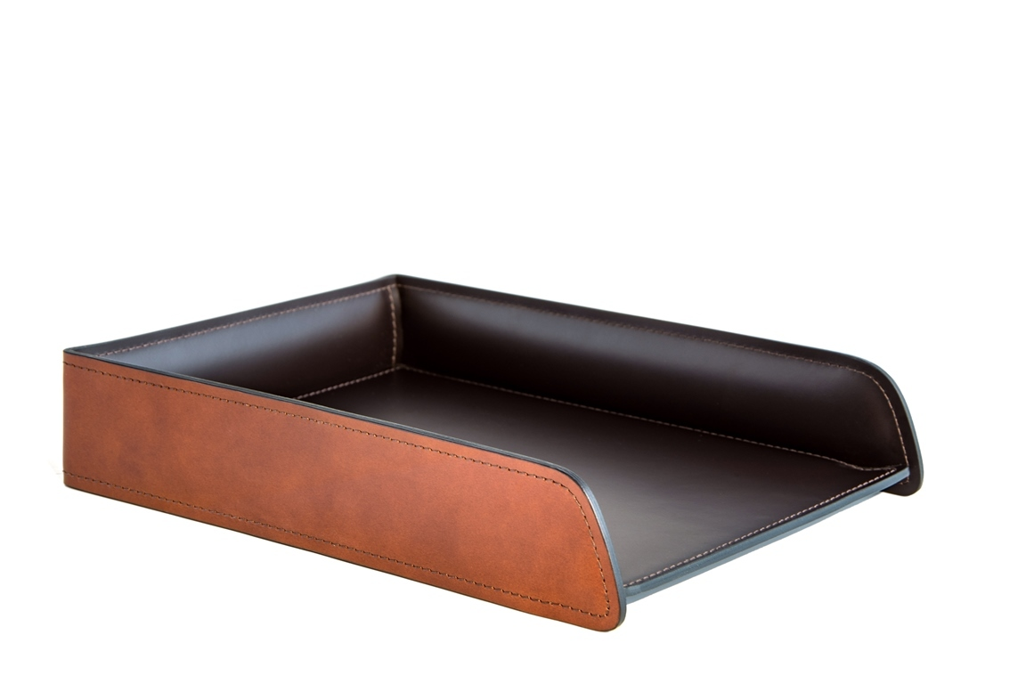 Лоток А4 горизонтальный PREMIUM из кожи Full Grain Toscana/Cuoietto шоколад