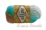 Пряжа Alize Bella Batik меланж голуб-коричн 3675