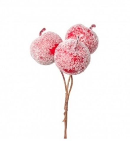 Набор яблок засахаренных на вставках 3шт., размер: D4,5x4xL15см, цвет: красный