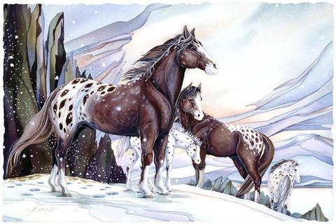 Алмазная Мозаика 20x30 Лошади в горах зимой