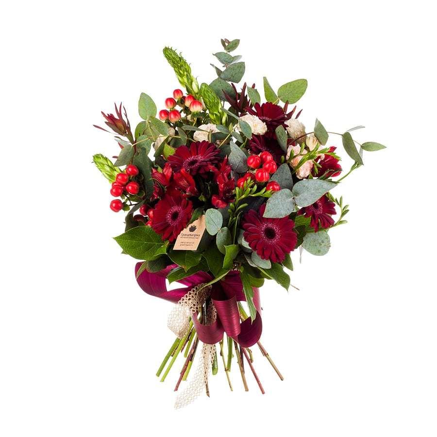 Букет из гербер и роз - Бордо