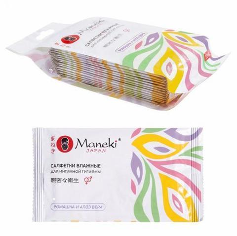 Салфетки влажные для интимной гигиены Maneki Kaiteki в индивидуальной упаковке с АЛОЭ и Ромашкой 15