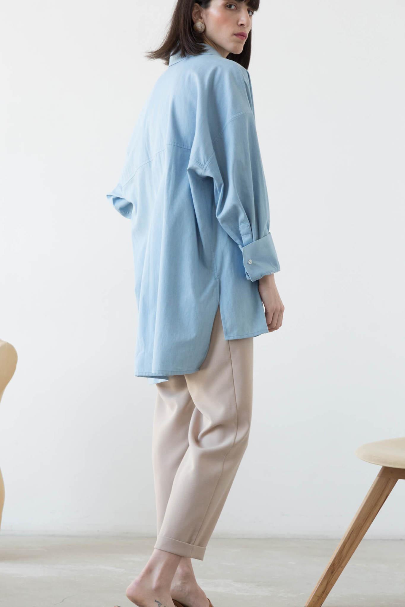 Рубашка оверсайз в мужском стиле, голубой джинс