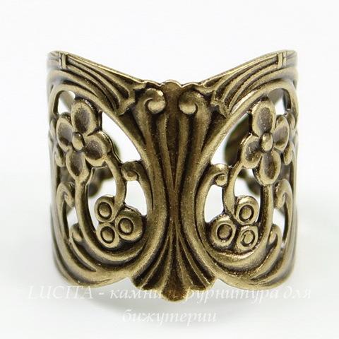 Винтажная основа для кольца (филигрань с цветочками) (оксид латуни) ()