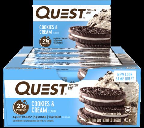 Протеиновые батончики Quest Bar Cookies & Cream (Печенье крем), 12 шт купить questbar