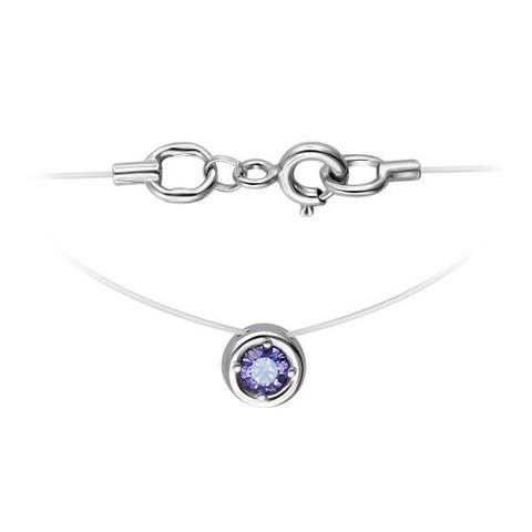 01Л251584-1 -Камушек из серебра на леске-невидимке с аметистовым фианитом