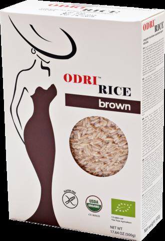 Рис бурый длиннозерный нешлифованный органический ODRI, 500г