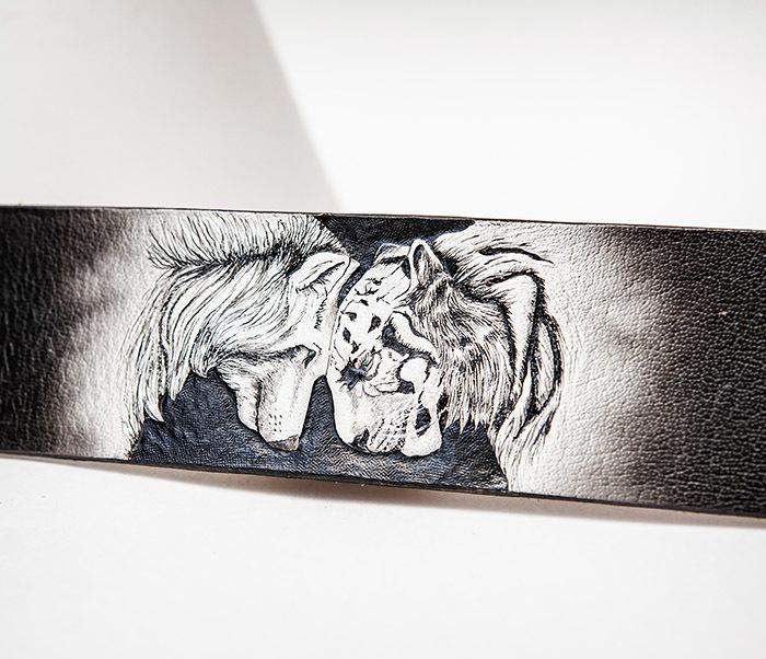 BL814 Браслет ручной работы с волком и тигром, тиснение фото 03
