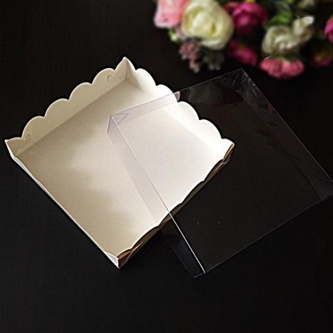 Коробки для пряников с прозрачной крышкой БЕЛЫЕ КВАДРАТНЫЕ  (15х15см. h-3см)