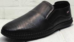 Мужские летние туфли мокасины с перфорацией smart casual стиль Ridge Z-291-80 All Black.