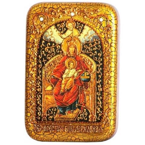 Инкрустированная Икона Божией Матери Державная 15х10см на натуральном дереве, в подарочной коробке