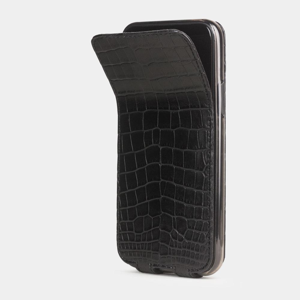 Чехол для iPhone 11 Pro из натуральной кожи крокодила, черного цвета