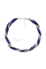 Бисерное ожерелье из 24 нитей черно-синее