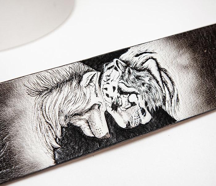 BL814 Браслет ручной работы с волком и тигром, тиснение фото 04