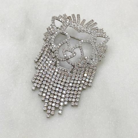 Брошь Циркон Лев с бахромой серебряный