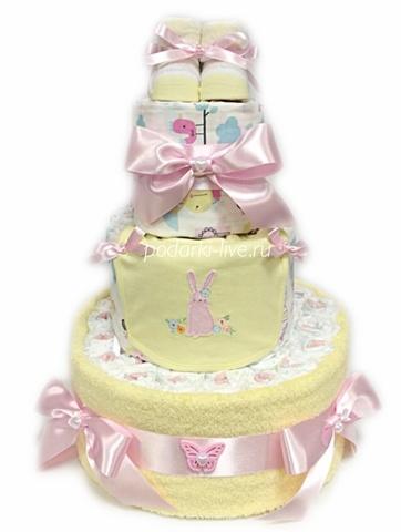 Торт из памперсов  для девочки
