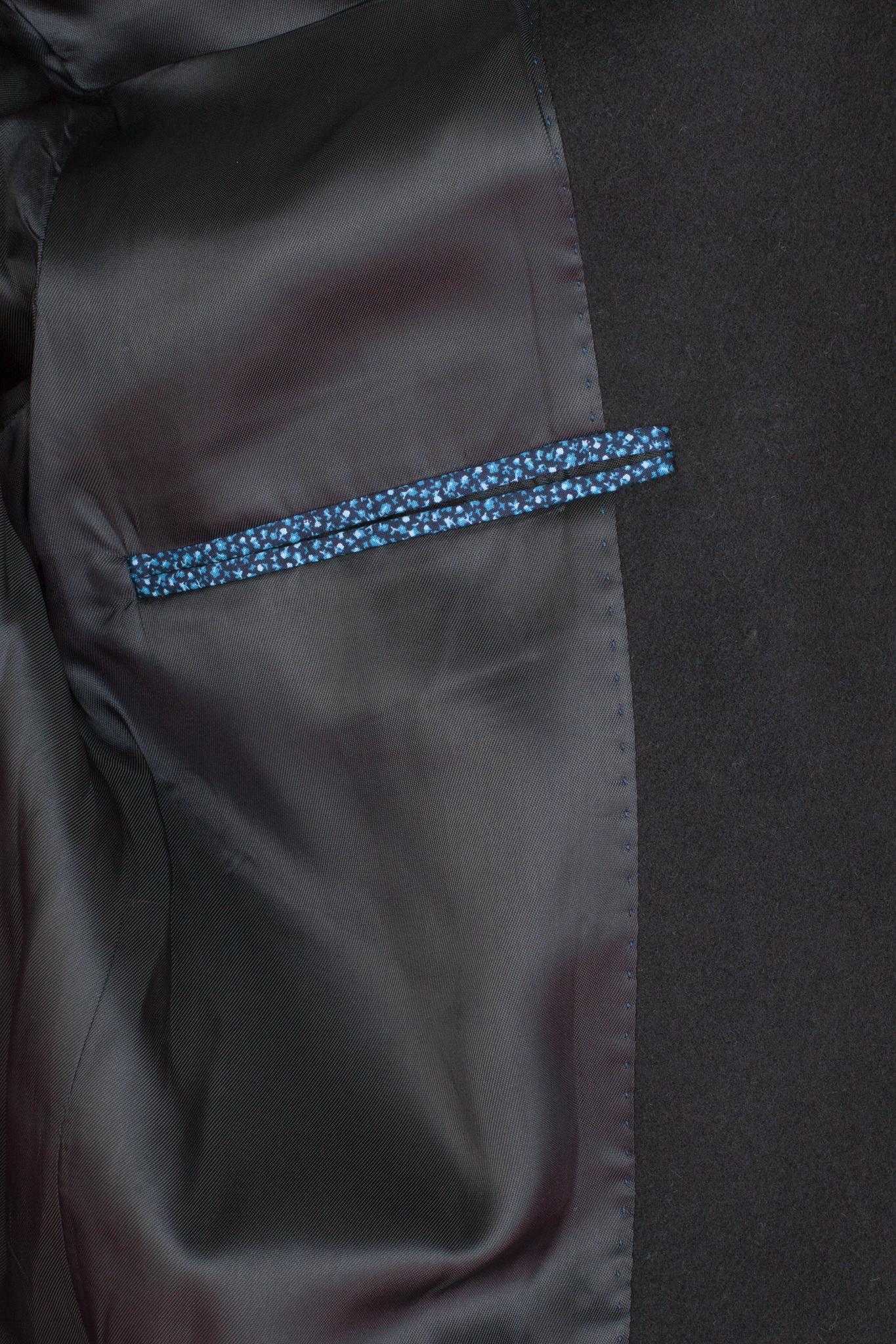 Тёмно-синее пальто узкого кроя из шерсти и кашемира, внутренний карман