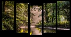 """Модульная картина """"Река в зеленом лесу"""""""