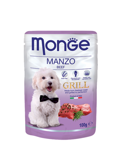 Monge Dog All Breeds Grill Pouch Manzo with Beef