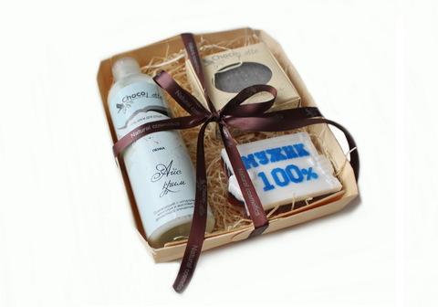 Набор подарочный для мужчин АЙС-КРИМ (пенка д/душа, твердый шампунь,мыло100%мужик)/ТМ Chocolatte / НОВАЯ УПАКОВКА - деревеянный лоток